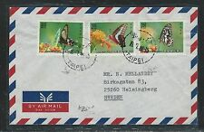 CHINA ROC  (PP0309B) 1989  BUTTERFLY STAMPS 3 DIFF ON A/M COVER TO SWEDEN