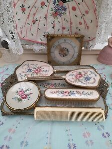 Vintage Petite Point filigree Vanity Set