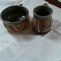 Handmade Pottery Lot Of 1Large Soup Mug & 1 Coffee Mug Both Signed
