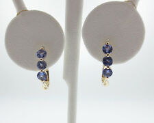 Natural Tanzanite Diamonds Solid 14k Yellow Gold Earrings