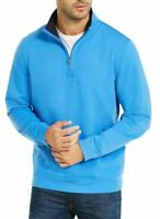 Club Room Mens Sweater Blue Size Medium M 1/2 Zip Fleece Lined Pullover $55 #221