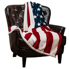 Chanasya Patriotic US Flag Print Fleece Sherpa Throw Blanket for Couch Bed Sofa