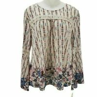 Style&co. Womens Blouse Beige Floral Long Sleeve Bell Scoop Neck Crochet M New