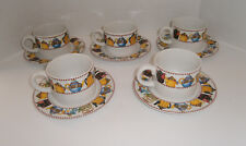 "Mary Engelbreit 5 Cups & 5 Saucers ""Afternoon Tea"" 1994 Sakura Teapots"