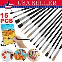 15 pcs Artist Painting Brush Set Oil Watercolour Hobby Craft Art Paint Supplies