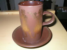 PURBECK POTTERY MEDIEVAL GREEK MYTHS COFFEE MUG / CUP & SAUCER MUSICIANS