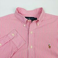 Polo Ralph Lauren Mens Button Down Shirt Sz Large Pink Pinstripe L/S Classic Fit