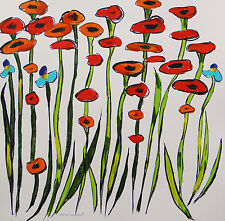 ORIGINAL Red POPPY  Flowers Painting John Williams art JMW Expressionism