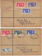 JAMAICA GILBERT ELLICE ISLANDS 1937 TWO REGISTERED CORONATION FDC'S TO LONDON