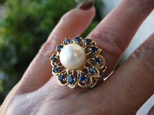ANTIQUE 14K SOLID YELLOW GOLD PEARL NATURAL SAPPHIRE STARBUST 10G SZ 4.5 RING!!!