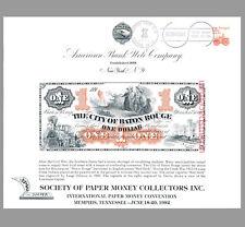 SO24 ABNC Souvenir Card $1 City of Baton Rouge Red Stick 1860s SPMC 1982 FDSC
