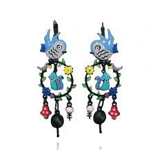 Lol Bijoux - Boucles d'Oreilles Oiseau Bleu Ciel - Créoles Branche d'Arbre