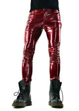 HORSE & HORN RED BONE PVC VINYL GLOSSY FETISH BURNER ROCKER SKINNY JEANS PANTS