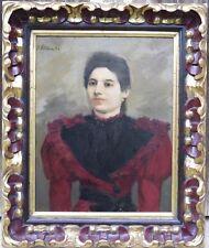 """F. LOPP (1875-1970) """"Dame à la robe rouge """"Huile sur toile,Ecole espagnole"""