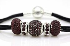 Authentic Pandora Bracelet in Black +GENERIC Red Sterling Silver Charms Bead