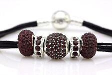 PANDORA Black Multi String Bracelet W Purple Charm Both Retired