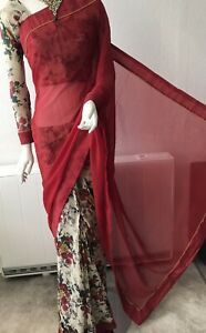 Indian Printed Floral Saree  Half Plain Marron Comes With Readymade Blouse
