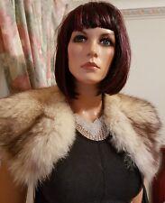 Vintage Real Beige Fox Fur Stole Wrap Bolero Shrug Shawl Collar 4 Jacket Coat
