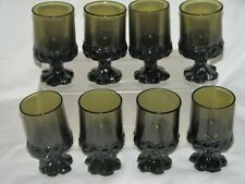 """4.75"""" Franciscan Juice Drinking Glass Madeira Footed Vtg Set of 8 Green"""