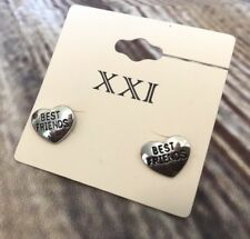 Forever 21 Earrings Best Friends Slidebacks NWT Heart Silver Tone