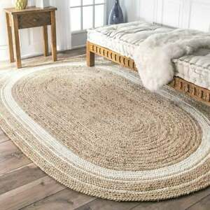 beige color with white border oval jute rug handmade oval bedroom mat beautiful