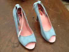 Carnival Ben Sherman Ladies High Heeled Peep Toe Ankle Fastening Blue Shoes Size
