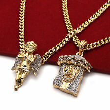 "Men's 14k Gold Plated High Fashion 2 pcs Cz Jesus & Angel 3mm 30"" & 24"" Cuban 2s"