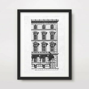 BUILDING FRONT ARCHITECTURAL DIAGRAM DRAWING ART PRINT Poster Wall Picture