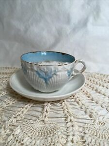 Vintage Victorian Mustache Cup & Saucer Seashell Gold Embossed Blue Porcelain