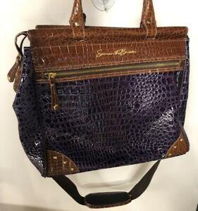 "Samantha Brown Travel Bag Carry On Weekender Purple Brown (15x12x8"") Glossy"