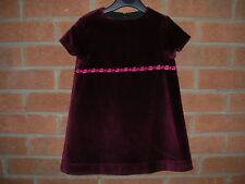 MINI BODEN Girls Fully Lined Maroon Burgundy Party Dress Age 2-3 98cm