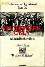 """1/9/73PN19 POSTER SIZE ADVERT 15X11"""" ALLMAN BROTHERS BAND : BROTHERS AND SISTERS"""