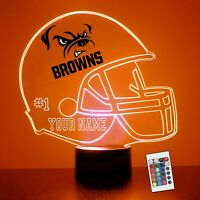 Cleveland Browns Personalized Night Light LampNFL Football Gift Engraved FREE