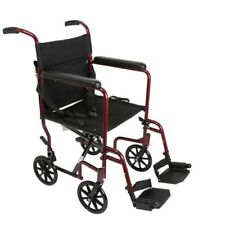 Super Lightweight Burgundy Aluminum Transport Chair WheelChair 19 lb