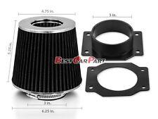 BLACK Mass Air Flow Sensor Intake MAF Adapter +Filter For 91-99 Nissan Sentra