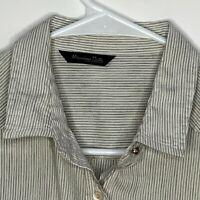 Massimo Dutti Womens Designer Shirt LS Blue White Striped Small