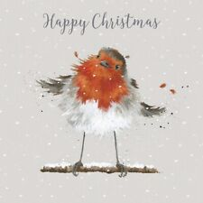 Luxury Christmas Robin Glittered Boxed Cards - Wrendale Designs Xmas Card Set