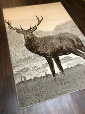 TOP QUALITY STAG RUGS 160CMX230CM APPROX 8X5FT BEST AROUND LIGHT GREYS CREAMS