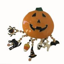 Big Halloween enamel pumpkin brooch pin pendant with dangling 3D enamel charms