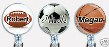 Personalized Badge Reel Retractable ID Name Holder Football Soccer Basketball