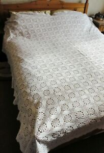 Vintage Hand Made  White Crocheted Bed Cover/Blanket. UK Double/King Size. GC