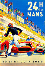 Motor Racing Car 24 Heures du Mans  1959  Deco Race Poster Print