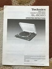 Technics SL-BD20 Turntable Owners Operating Instructions Manual Original
