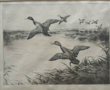 Roland Clark (American 1874-1947) 2 pencil signed etchings of brids.
