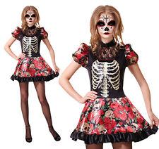Ladies Day Of The Dead Doll Fancy Dress Costume Halloween Skeleton UK 10-14