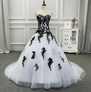 White and Black Strapless A-line Wedding Dresses Applique Sweetheart Bridal Gown