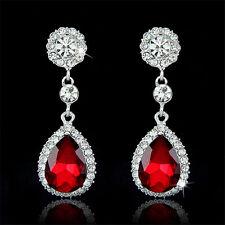Trendy Rhinestone Bridal Water Drop Earrings Wedding Crystal Stud Earings  FO