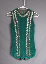 Vintage 1950s Verde Esmeralda Lentejuelas Trim Mono Disfraz Equipo Danza Wow