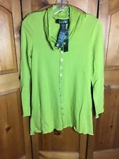 Pure Essence Citrine Green Long Sleeve Tunic Blouse Bamboo Rayon Small