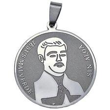 30 mm Jesus Malverde Stainless Steel Silver Tone Sinaloa Charm Medallion Pendant